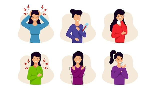 Женщина с различными симптомами вирусного заболевания.