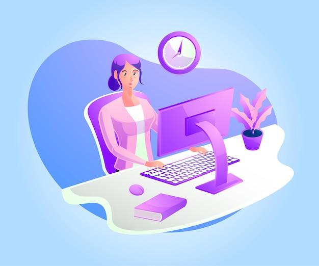 ワークデスクで働く女性や在宅勤務の女性