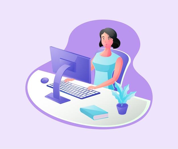 책상에서 일하는 여자