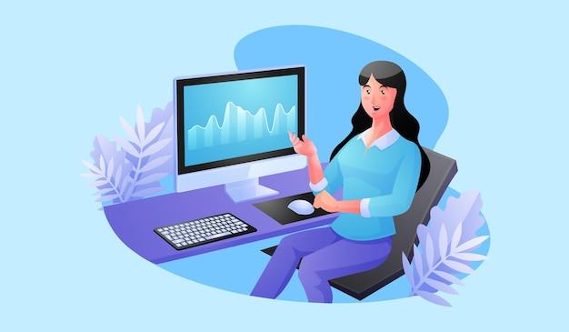 Женщина работает за компьютером для анализа данных Premium векторы