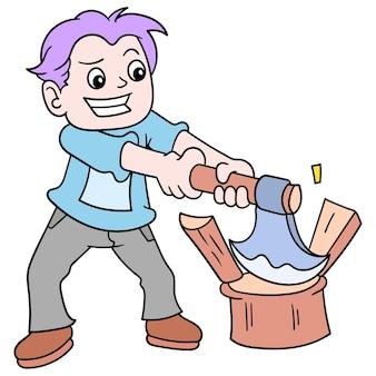 Мальчик-дровосек ломал дерево топором, векторная иллюстрация. каракули изображение значка каваи.