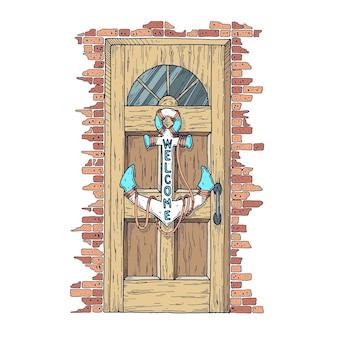 Деревянная дверь с висящим на ней якорем
