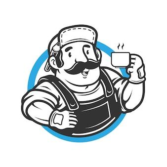 Рабочий мужчина держит кофе и карандаш на иллюстрации логотипа уха