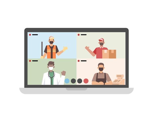 ノートパソコンのイラストを介してビデオ通話や会議を行う労働者