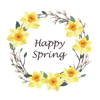 幸せな春の挨拶と水仙と柳の花輪。