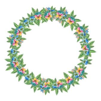 3色のスミレの花輪。