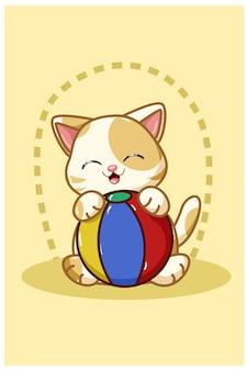 黄色い猫がボールのイラストを持ってきます