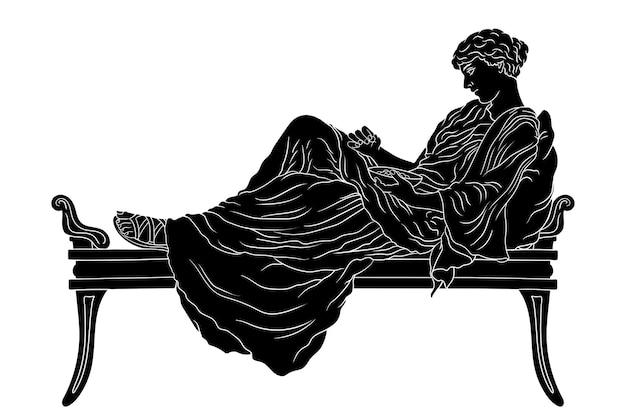 젊은 고대 그리스 여자는 베개와 함께 침대에 누워 고립 된 그릇에서 과일을 먹습니다.