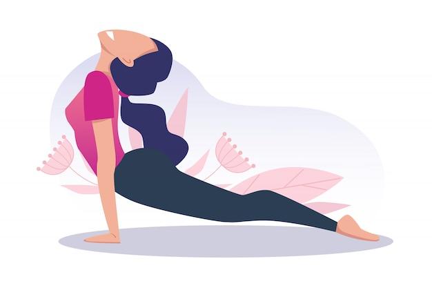 若くて幸せな女の子がヨガを練習し、瞑想します。コブラのポーズ。肉体的および精神的な実践。ベクトルイラスト。