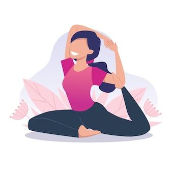 若くて幸せな女の子がヨガをし、瞑想し、鳩のポーズをとります。肉体的および精神的な実践。フラットな漫画のスタイルのベクトルイラスト。