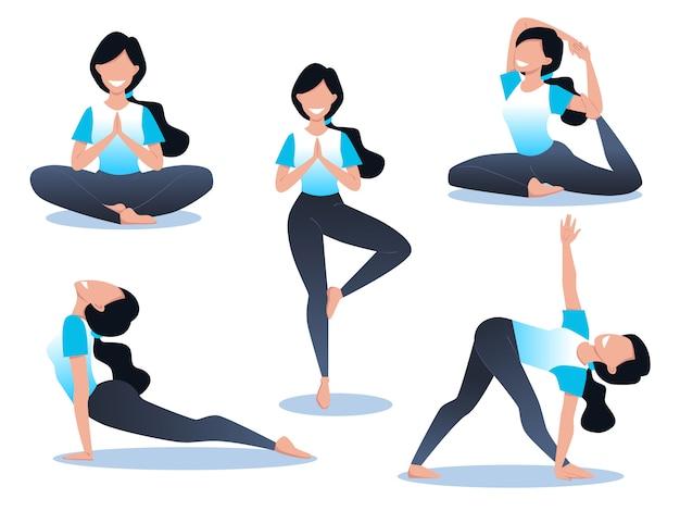 Молодая и счастливая женщина занимается йогой и медитирует, физические и духовные практики, набор поз для йоги.