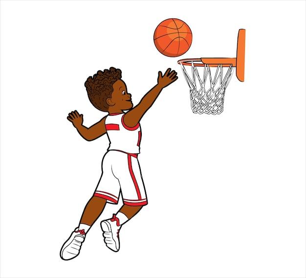 한 젊은 흑인 농구 선수가 만화 스타일의 바구니 벡터 삽화에 공을 던졌습니다