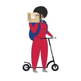 段ボール箱の宅配便をスクーターの医療マスクで保持している若い黒人女性キャラクター...