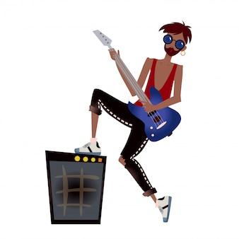 Молодой темнокожий мужчина играет на гитаре. рок-музыкант. иллюстрация, на белом.