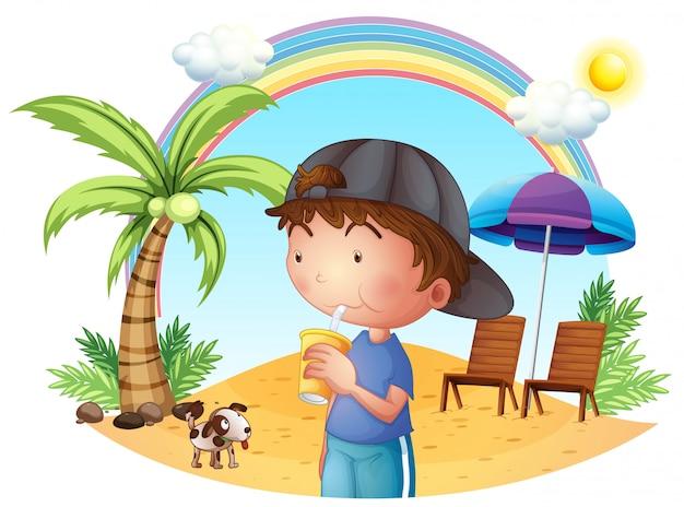 Мальчик на пляже со своим питомцем
