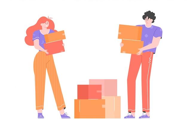 若いカップルが新しい家に引っ越します。男と女が近くに立って、段ボール箱を抱えています。住宅ローンと賃貸住宅。明るい文字でフラットのイラスト。