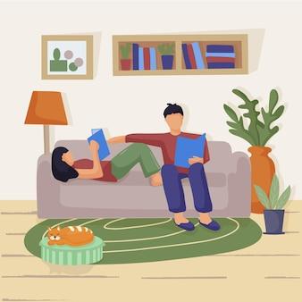 リビングルームのソファに座っている若いカップル