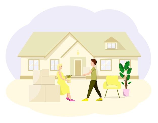 若い家族が新しい家に引っ越す