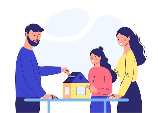 Молодая семья кидает деньги в копилку на покупку дома. концепция покупки дома. мультяшном стиле