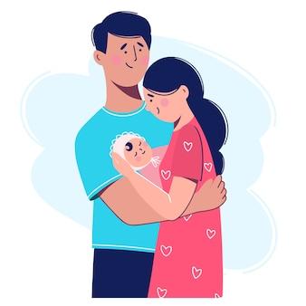 Молодая семья с новорожденным ребенком. женщина держит на руках ребенка. иллюстрация в плоском стиле.