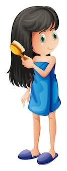 그녀의 긴 머리를 빗질 어린 소녀