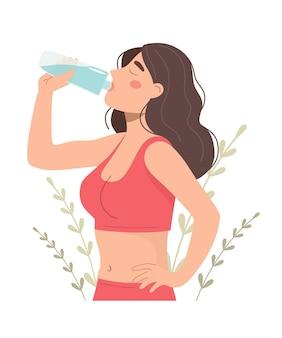어린 소녀는 병에서 물을 마신다