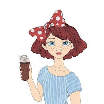 一杯のコーヒーを持っている少女。