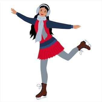 若い女の子がスケートをしているウィンタースポーツレジャーお祭りの娯楽の概念ベクトル