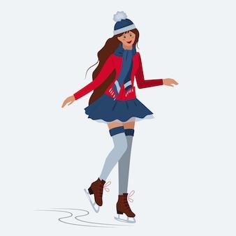 若い女の子がスケートをしています。冬のスポーツ。余暇。お祝いの娯楽の概念。ベクター。