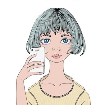 어린 소녀가 스마트 폰으로 셀카를 만든다. 흰색에 초상화 그림입니다.
