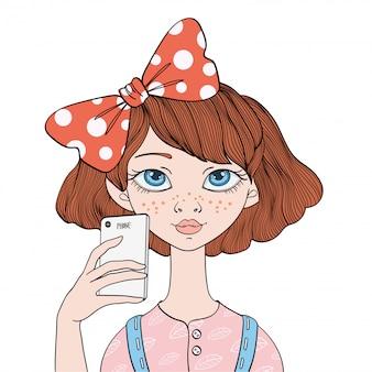 Молодая девушка делает селфи на смартфон. портретная иллюстрация, на белом.
