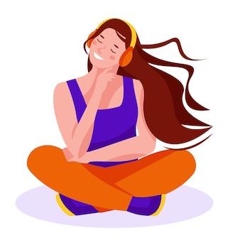 Молодая девушка или женщина в наушниках сидит на полу, слушая музыку. векторная иллюстрация в плоском мультяшном стиле. отдельный на белом фоне.