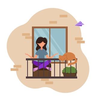 어린 소녀가 발코니에서 요가를 연습합니다. 집에 머물면서 명상을 한다. 벡터 일러스트 레이 션.