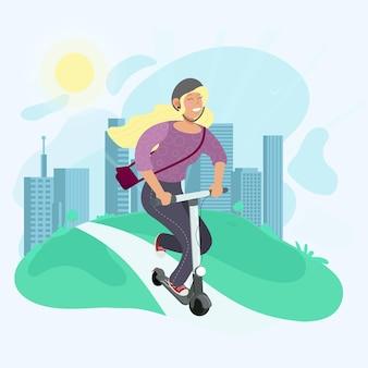 Маленькая девочка катается на электросамокате. экологичный транспорт. современные векторные иллюстрации в плоском стиле. абстрактный фон города.