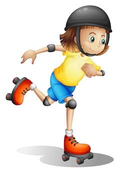 Молодая девушка катается на роликах