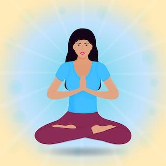 Молодая девушка сидит в позе лотоса и левитирует. намасте. хатха-йога.