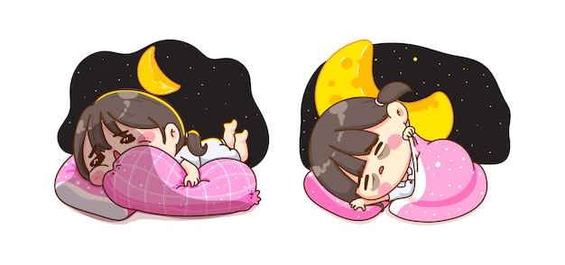 Молодая девушка спит в ночное время фантазии и концепция сладкого сна изолированы