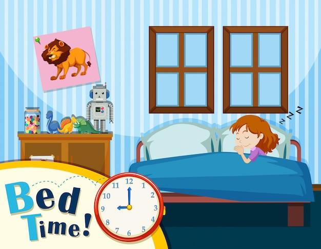 파란 침실에서 자고있는 어린 소녀