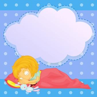 빈 설명 선으로 자고있는 어린 소녀