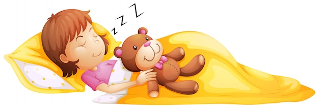 그녀의 장난감으로 자고있는 어린 소녀