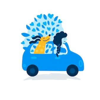 Молодая девушка с собакой путешествует на машине