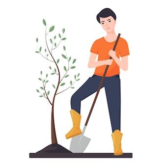 Молодой парень сажает дерево. сельскохозяйственные работы. садовые работы. иллюстрация в плоском стиле.