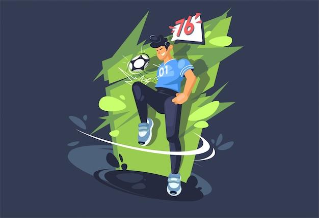 Молодой парень играет в футбол. футболист играет с мячом. спортивный мальчик.
