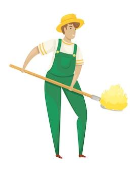 Молодой фермер-мужчина в шляпе со стогом сена в руках бросает сено. сезон урожая. зерноводство и животноводство. натуральное хозяйство.