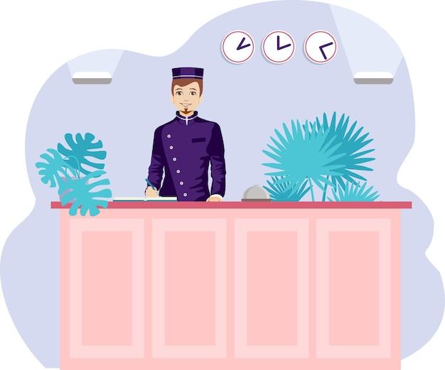 젊은 남성 접수원이 프런트 데스크 호텔 로비에 서 있습니다. 체크인 호텔 현대 벡터