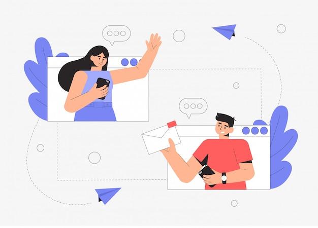 젊은 남녀가 메시지 앱에서 채팅하고 있습니다. 두 사람의 대화.