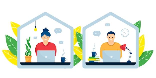 젊은 남자와 여자가 노트북과 함께 앉아 있다. 집에서 원격 근무, 프리랜서, 원격 교육의 개념