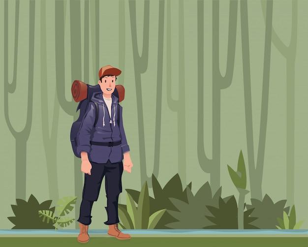 ジャングルの森にいるバックパッカーの若者。ハイカー、エクスプローラー。コピースペースのイラスト。