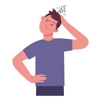 若い男が何かを考えて頭痛で頭を抱えている