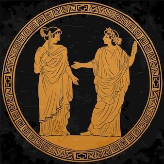 그의 손에 파피루스 두루마리가있는 고대 그리스 튜닉의 젊은 남자
